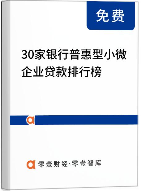 """30家银行普惠型小微企业贷款排名:六大行""""头雁""""效应显著,天津银行增速达73%"""
